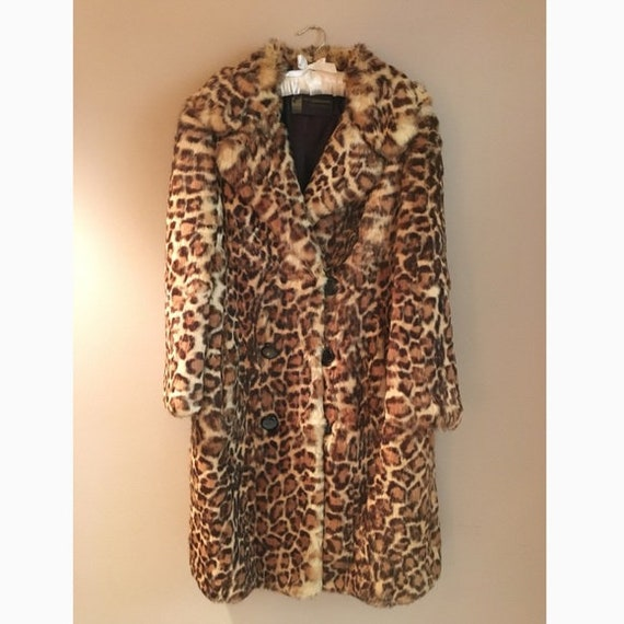 1960s Vintage leopard print rabbit fur coat