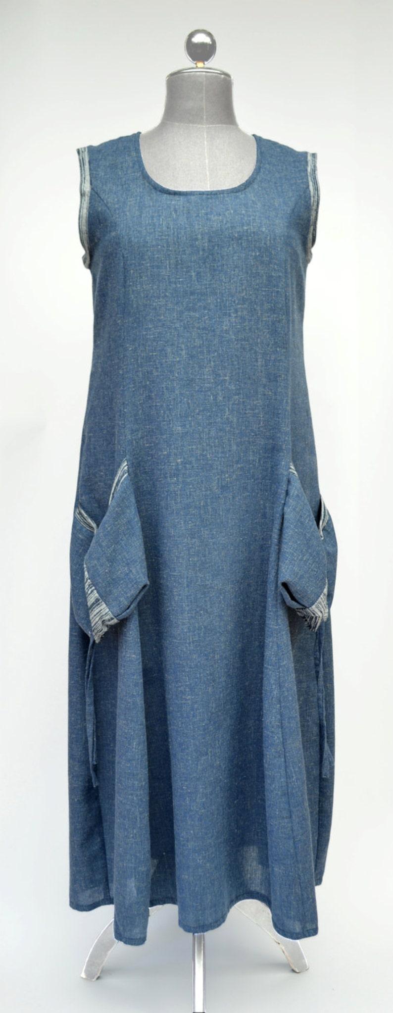 blue gray,plus size,denim Linen Dress Sophia summer dress XL