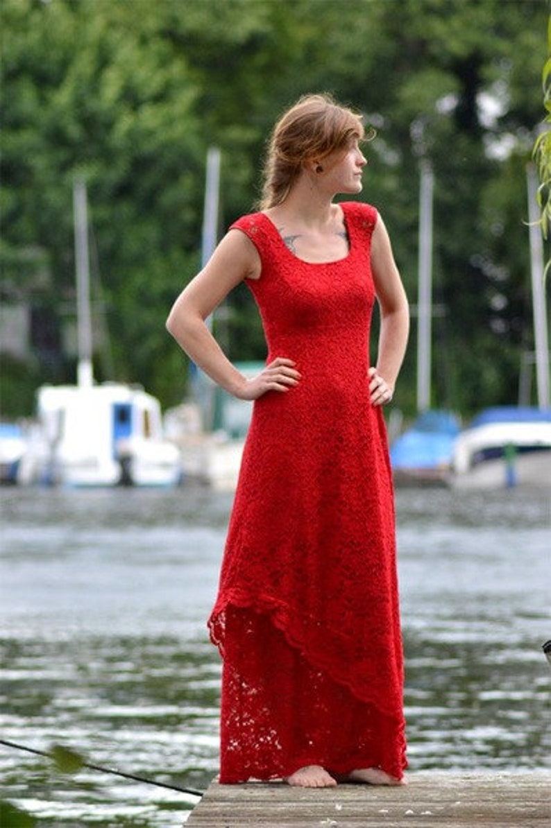 Wedding dress Windrose red evening dress lace image 0