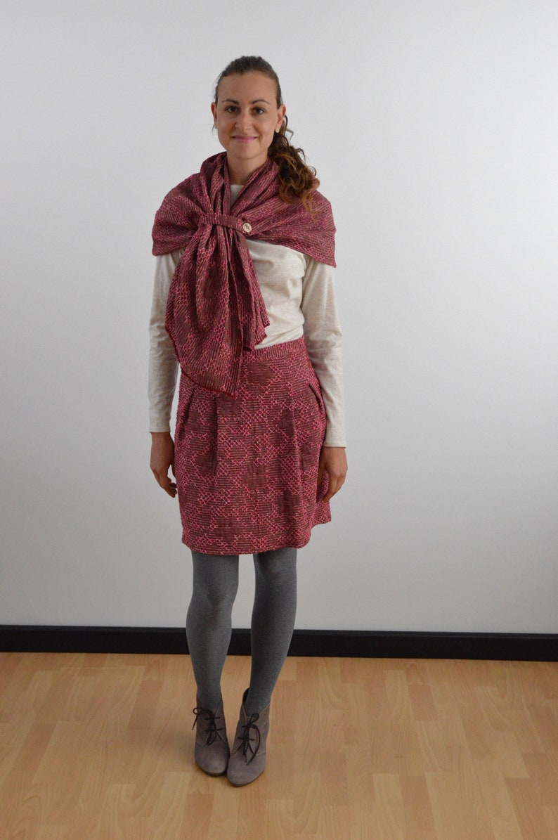 Cape scarf in pink with ribbon and button scarf image 0