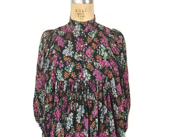 vintage 1970's floral mini dress / rayon / balloon sleeves / dark floral dress / boho bohemian / women's vintage dress / size large