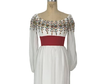 vintage 1960's ethnic embroidered maxi dress / rainbow embroidery / alternative wedding dress / women's vintage dress / size medium