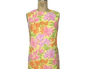 vintage 1960's floral shift dress / Fritzi of California / pastel neon / spring summer / women's vintage dress / size medium