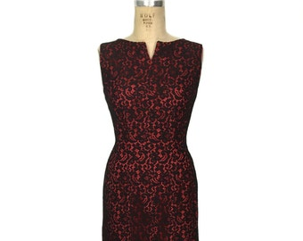 vintage 1960s lace wiggle dress / black red / floral lace / party cocktail holiday dress / women's vintage dress / size medium