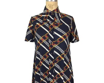 vintage 1970's chainlink shirtdress / La Chat / polyester / novelty print / collared dress / day dress / women's vintage dress / size medium