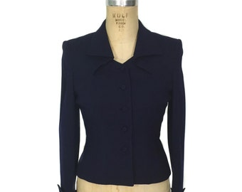 vintage 1940's tailored jacket / Fairbrooke / navy blue / wool crepe / fitted wasp waist jacket / women's vintage jacket / size medium