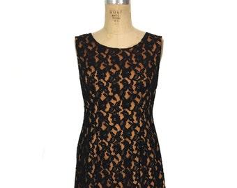 vintage 1960s lace dress / black orange / lace illusion / Halloween Autumn / women's vintage dress / size medium