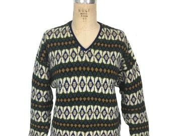 Vintage Hans Heitsch Design Scandinavian Lambswool Sweater Unisex 1970s Icelandic Ski Made in Sweden for Jersey Modeller VpLS94edbc