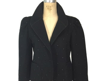 vintage 1980's studded jacket / Mrs. H. Winter Lord & Taylor Fantasia / black / wool / women's vintage jacket / tag size 6