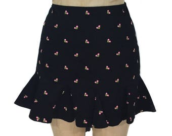 aa827cb22a4 vintage 1990 s BETSEY JOHNSON floral mini skirt   black pink   cotton blend    dark floral   low rise   women s vintage skirt   tag size 8