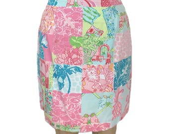 vintage 1990's LILLY PULITZER patchwork skirt / pastel / cotton / novelty print skirt / mini skirt / women's vintage skirt / tag size 4