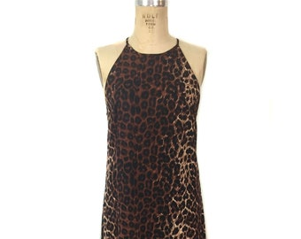 vintage 1990 s leopard print maxi dress   Jack Mulqueen   halter dress   animal  print   women s vintage dress   tag size 12 0796e469f