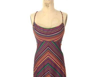 vintage 1970's rainbow chevron dress / maxi dress / polyester / halter dress / J•M•Towne & Co. / women's vintage dress / size small