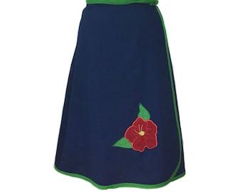 vintage 1970's floral wrap skirt / blue green red / cotton blend / 70's skirt / women's vintage skirt / tag size medium