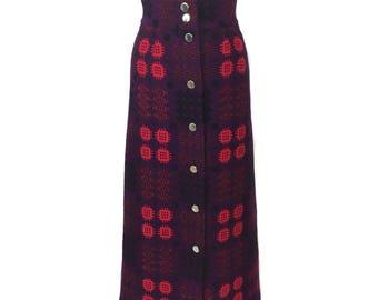 vintage 1960's Welsh tapestry maxi skirt / Corgi / pink purple blue black / wool / tapestry skirt / women's vintage skirt / tag size 10