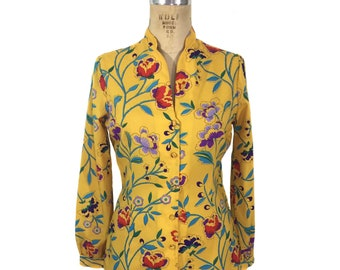 vintage 1970's floral blouse / Herman Geist / yellow / polyester / deadstock blouse / women's vintage blouse / tag size 10