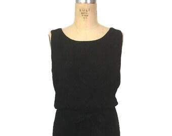 vintage 1960's floral trapunto cocktail dress / Mancini California / little black dress / black / women's vintage dress / size medium