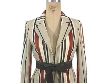 vintage MOSCHINO striped jacket / Cheap and Chic / ribbon stripes / fitted jacket / high fashion / women's vintage jacket / tag size 8