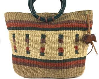 vintage sisal handbag / striped purse / elephant / vintage purse / vintage handbag