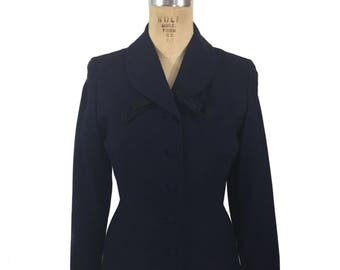 vintage 1940's tailored jacket / navy blue black / satin bow / wasp waist nipped waist / women's vintage jacket / size small