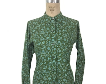 vintage 1950's floral blouse / Shapely Classic / green blue / botanica blouse / button front blouse / women's vintage dress / tag size 16