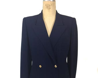 vintage 1980's SONIA RYKIEL jacket / navy blue / gold buttons / double breasted / women's designer vintage jacket / tag size 42