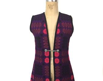 vintage 1960's Welsh tapestry vest / purple pink black blue / wool / tunic vest / tapestry vest / women's vintage vest / tag size small