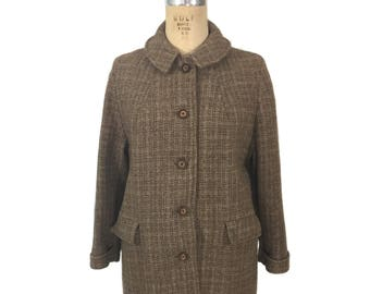 vintage 1960's HARRIS TWEED coat / tan / wool / winter coat / Scottish tweed / women's vintage coat / size medium