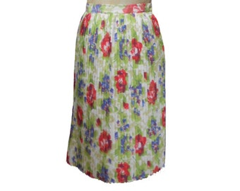 vintage 1960's watercolor floral skirt / pleated skirt / spring summer / a-line skirt / women's vintage skirt / size small