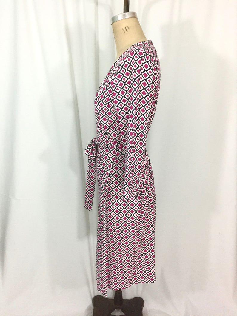 vintage 1990/'s DIANE von FURSTENBERG wrap dress  cotton blend  geometric print  women/'s vintage dress  tag size 12