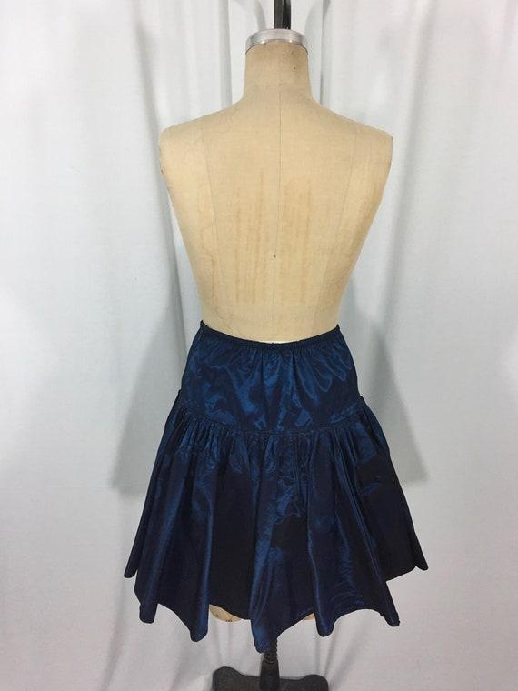 vintage 1980's NORMA KAMALI taffeta skirt / blue … - image 5
