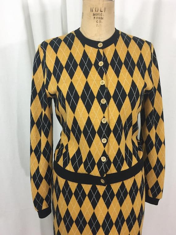 vintage 1980's NORMA KAMALI knit skirt set / blac… - image 3