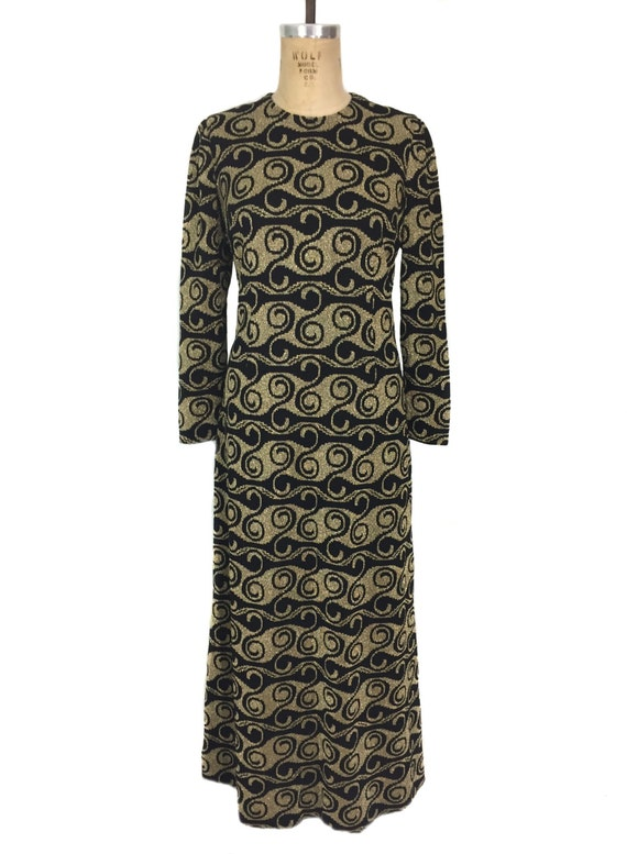 vintage 1970's lurex swirl maxi dress / black gold