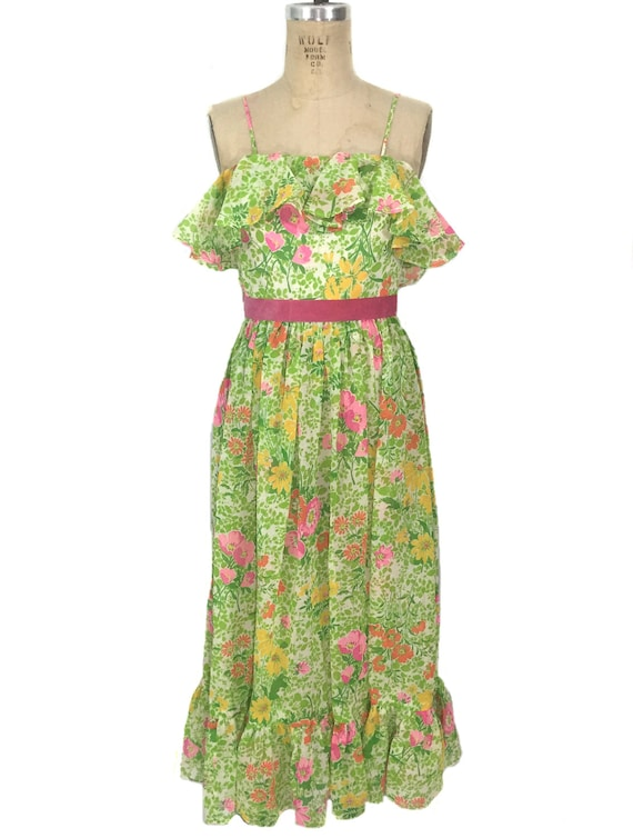 dress vintage floral gown flounce size spring small summer Act floral I 1970's maxi straps vintage spaghetti dress women's Zqp6qw