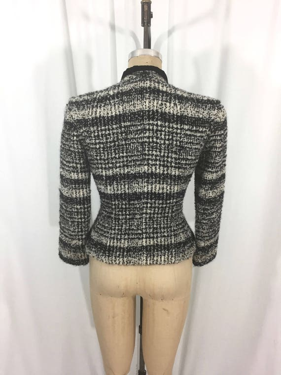 women's wool amp; jacket small black pepper salt boucle vintage white size boucle Fredericks jacket and Sara 1950's vintage OfqPPB1