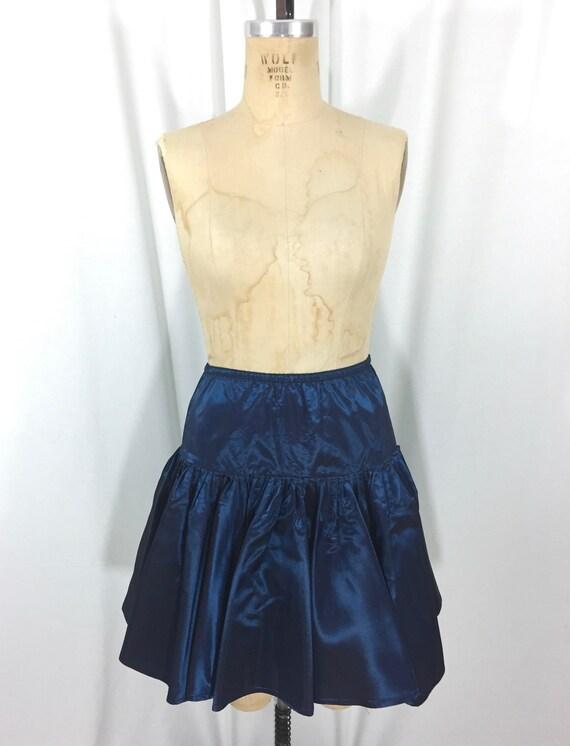 vintage 1980's NORMA KAMALI taffeta skirt / blue … - image 2