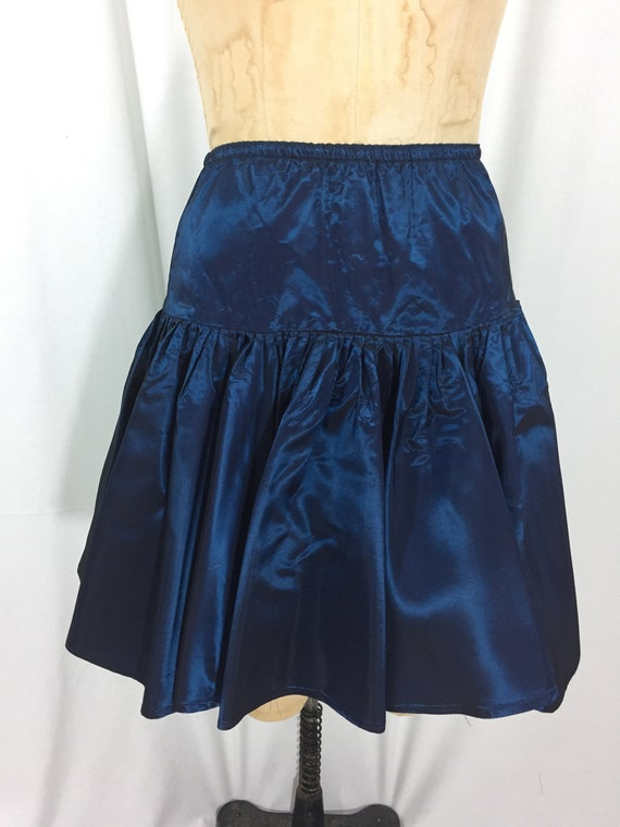 vintage 1980's NORMA KAMALI taffeta skirt / blue … - image 3