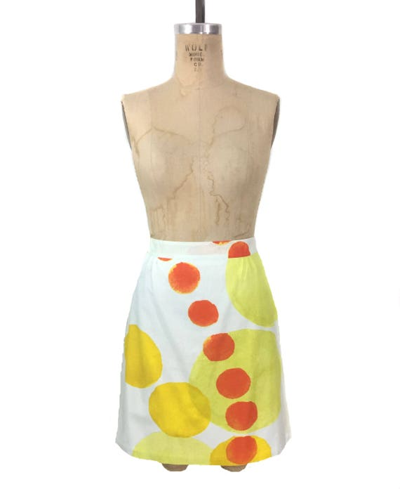 vintage MARIMEKKO mini skirt / citrus orange yello