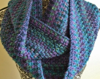 Teal and Purple Crochet Infinity Scarf - Blue Loop Scarf