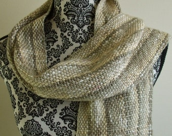Woven Scarf in Tan Beige White Handwoven scarf