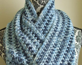 Crochet Infinity Scarf in Blues - Loop Crochet Scarf