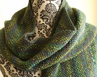 Hand Woven Scarf in Green and Gray