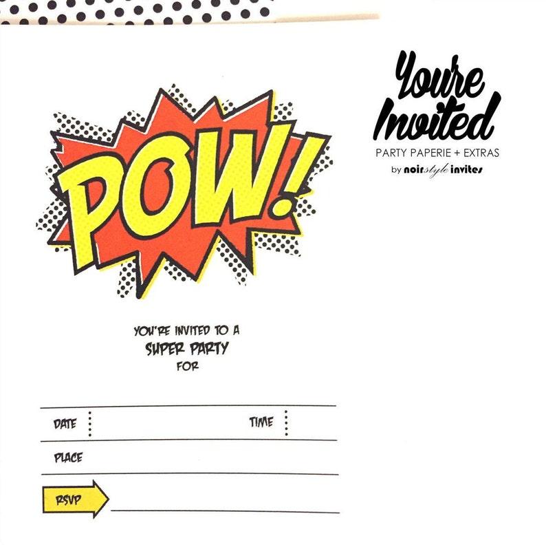 Pow Superhero Theme Invitations Quantity of 10 Fill In invitations