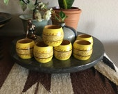Wooden Napkin Rings, Set of 6, Made in the Philippines, Hand Painted Yellow with Vine-Like Garland Band, Bohemian Dining Decor, Patio Dining