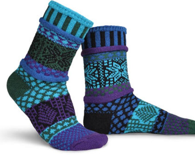 Solmate Socks - Blue Spruce Crew Adult LARGE