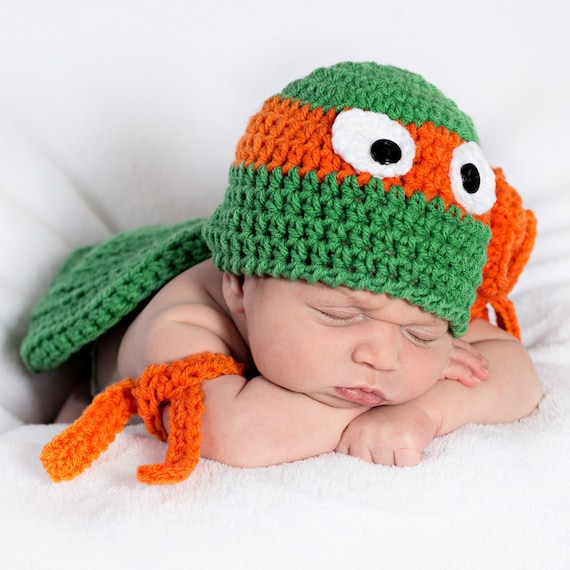 TMNT Hat and 2 matching arm bands Newborn 12 mos. Photo  3b2411766189