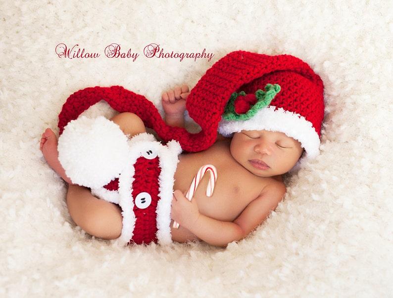 930e2eb1e Lil' Santa Red Longtail Munchkin/Santa Hat and Diaper Cover Set - Newborn -  3 Mos.