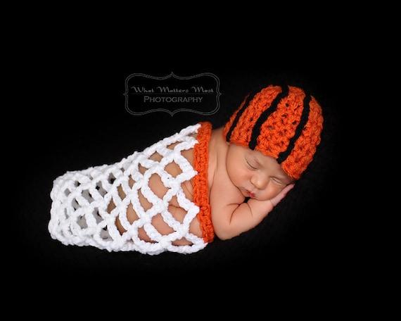 Basketball Beanie   Net Crocheted Newborn Photography Prop  d4610e7e9c4