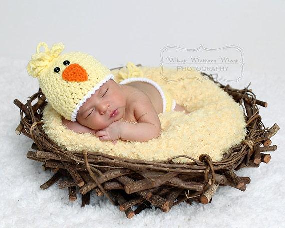 Baby Bird Chick Hat   Diaper Cover Set Sizes Newborn 12  0ce44ff05672