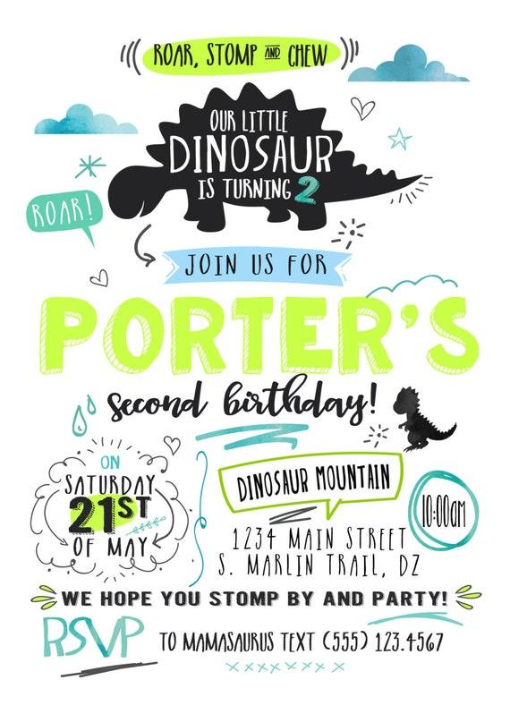 Dinosaur Birthday Invitation T Rex Party Dino
